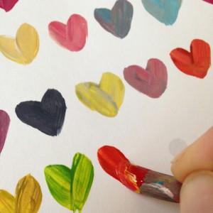 100 de inimioare colorate. pasul 1