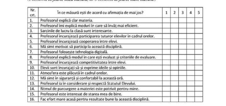 chestionare feedback profesori